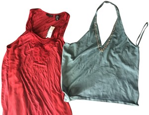New York & Company Co W/ Tags With Sequins Red and forest green Halter Top