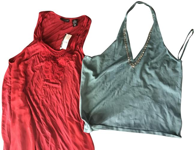 Item - Red and Forest Green Co Style For One Price. Halter Top Size 16 (XL, Plus 0x)