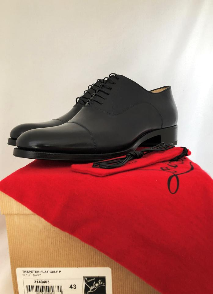 finest selection d0770 7bf8f Christian Louboutin Navy New Trepeter Leather Calf Heel Red Sole Lace-up  Italy Oxford Men's Boots/Booties Size EU 43 (Approx. US 13) Regular (M, B)