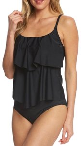 993c9b5ac4 Maxine of Hollywood Maxine of Hollywood two tiered ruffle all black one  piece swimsuit