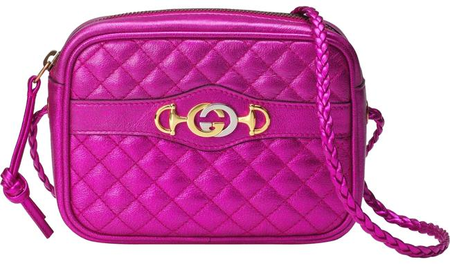 Item - Camera Quilted Metallic Purple Leather Cross Body Bag