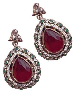 Royal Crown Collection Vintage Royal Jewels Ruby Emerald Sterling Silver Earrings