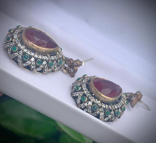 Royal Crown Collection Vintage Royal Jewels Ruby Emerald Sterling Silver Earrings Image 2