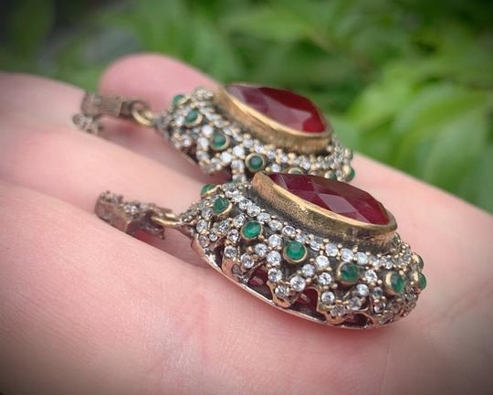 Royal Crown Collection Vintage Royal Jewels Ruby Emerald Sterling Silver Earrings Image 3