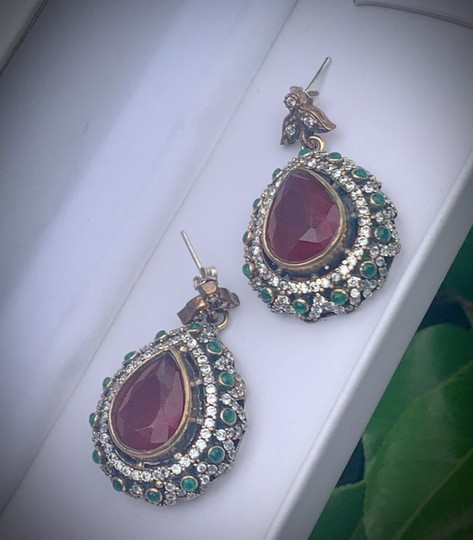 Royal Crown Collection Vintage Royal Jewels Ruby Emerald Sterling Silver Earrings Image 4