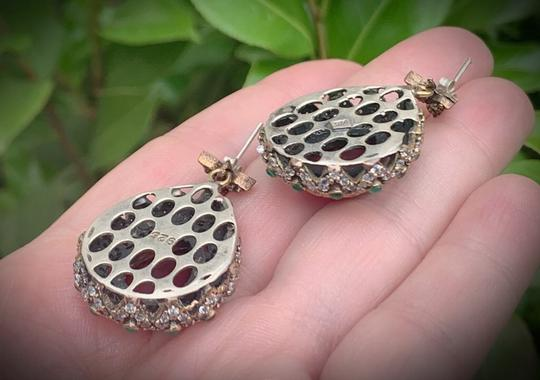 Royal Crown Collection Vintage Royal Jewels Ruby Emerald Sterling Silver Earrings Image 5