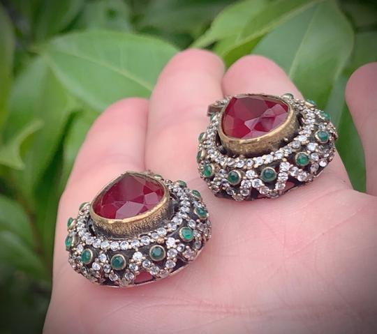 Royal Crown Collection Vintage Royal Jewels Ruby Emerald Sterling Silver Earrings Image 6
