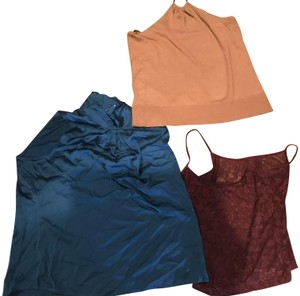New York & Company Burgundy Cami 3 for 1, beige- teal-burgundy. Halter Top
