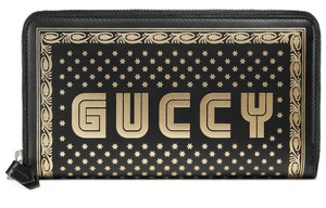 Gucci Guccy Logo Moon & Stars Leather Zip Around Wallet