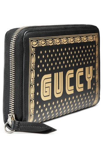 Gucci Guccy Logo Moon & Stars Leather Zip Around Wallet Image 3