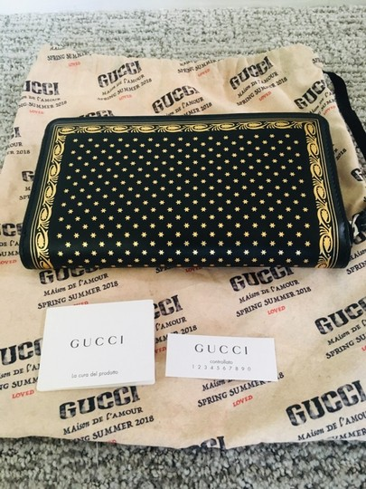 Gucci Guccy Logo Moon & Stars Leather Zip Around Wallet Image 6