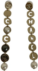 Chanel Chanel COCO CHANEL Logo Gold Tone Disc Pearl Drop Statement Earrings