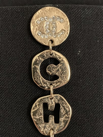 Chanel Chanel COCO CHANEL Logo Gold Tone Disc Pearl Drop Statement Earrings Image 11