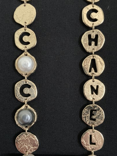 Chanel Chanel COCO CHANEL Logo Gold Tone Disc Pearl Drop Statement Earrings Image 3
