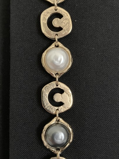 Chanel Chanel COCO CHANEL Logo Gold Tone Disc Pearl Drop Statement Earrings Image 5
