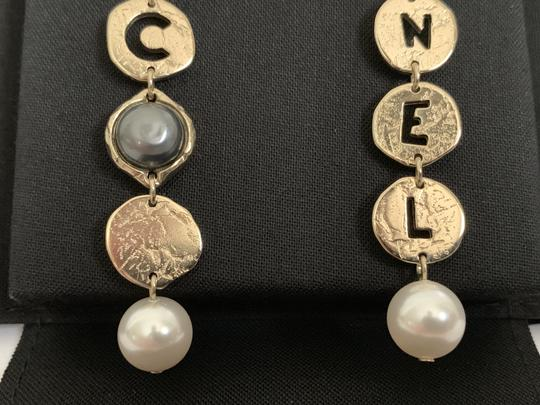 Chanel Chanel COCO CHANEL Logo Gold Tone Disc Pearl Drop Statement Earrings Image 6