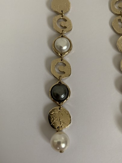 Chanel Chanel COCO CHANEL Logo Gold Tone Disc Pearl Drop Statement Earrings Image 8