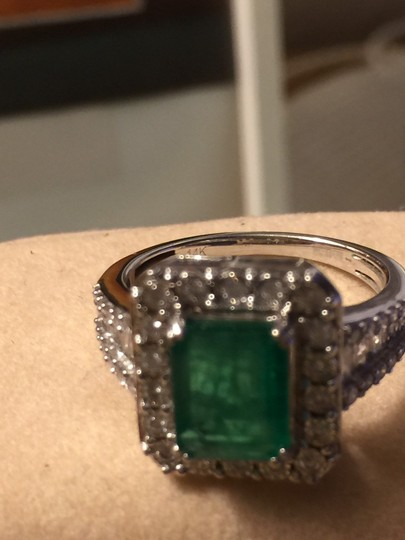 EFFY Collection 2 1/5 carat Emerald with Diamonds Effy brasilica 14K Diamond Ring with Precious emerald Image 1