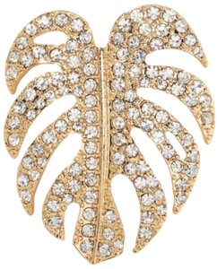 Banana Republic Crystal Philodendron Leaf Pin