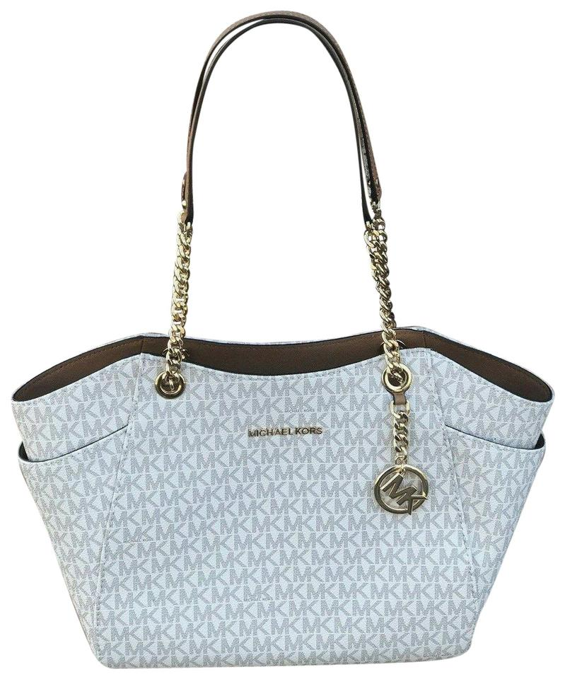 374442fae Michael Kors Jet Set Logo Large Chain Shoulder Vanilla Acorn Canvas Tote