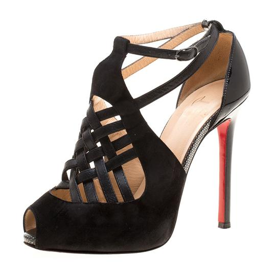 Christian Louboutin Leather Suede Cut-out Peep Toe Black Sandals Image 1