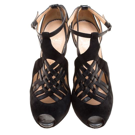 Christian Louboutin Leather Suede Cut-out Peep Toe Black Sandals Image 2