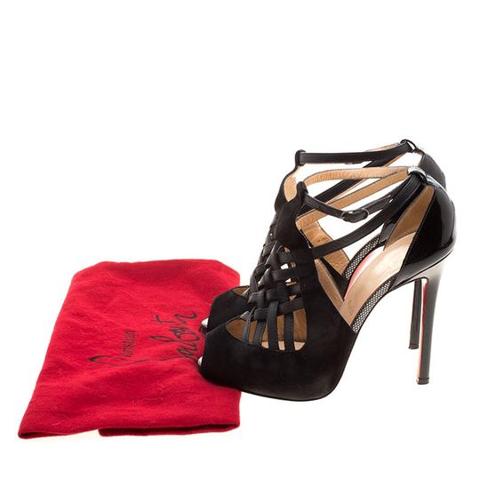 Christian Louboutin Leather Suede Cut-out Peep Toe Black Sandals Image 7