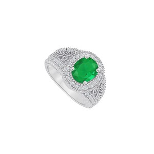 Marco B Ethnic Filigree CZ and Emerald Ring in 14K White Gold
