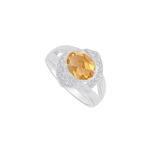 Marco B Fab White Gold Split Shank Ring with CZ and Citrine