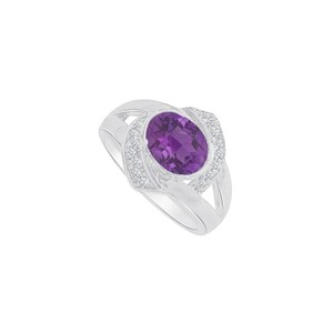 Marco B Cool White Gold Ring with CZ and Amethyst 1.75 CT TGW