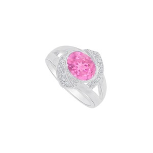 Marco B White Gold Ring with CZ and Pink Sapphire 1.75 CT TGW