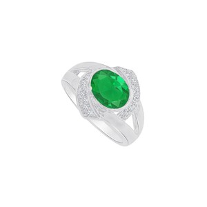 Marco B CZ and Oval Emerald Split Shank Ring in 14K White Gold