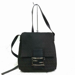 Fendi Chrome Hardware Mamma Zucco Mint Condition Canvas/Leather Satchel in black Zucchino/small F logo print canvas and black leather