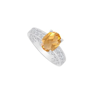 Marco B Cubic Zirconia and Oval Citrine Ring 14K White Gold