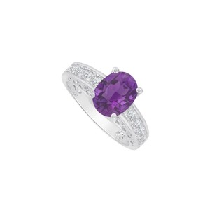 Marco B Cubic Zirconia and Oval Amethyst Ring 14K White Gold