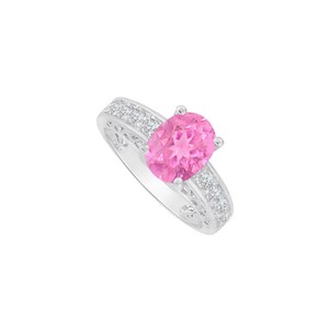 Marco B Cubic Zirconia and Oval Pink Sapphire Ring White Gold