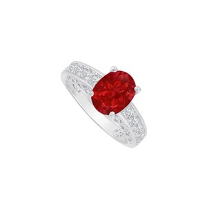 Marco B Oval Ruby and CZ Ring in 14K White Gold 2.00 CT TGW