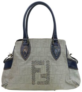 Fendi Du Jour Style Style Mint Condition In Satchel in deep blue calfskin leather and large F logo/Zucco print canvas