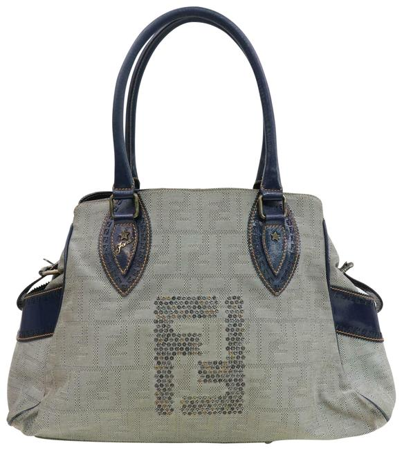 Item - XL Du Ff In Grommets Deep Blue Calfskin Leather and Large F Logo/Zucco Print Canvas Satchel