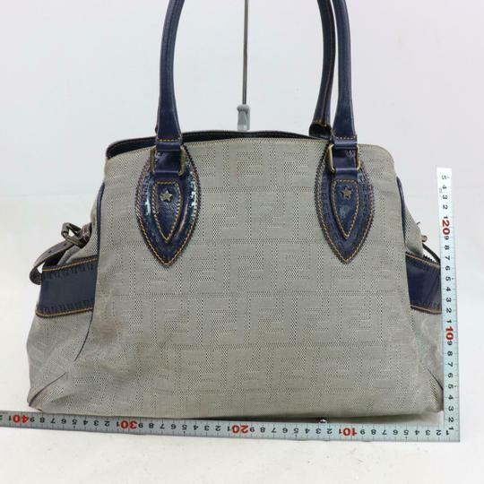 Fendi Du Jour Style Style Mint Condition In Satchel in deep blue calfskin leather and large F logo/Zucco print canvas Image 5