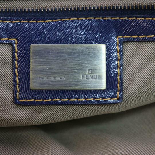 Fendi Du Jour Style Style Mint Condition In Satchel in deep blue calfskin leather and large F logo/Zucco print canvas Image 8
