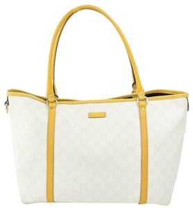 Gucci Satchel/Tote Mint Condition Classic Gg Tote in brown large G logo print on white coated canvas and yellow leather