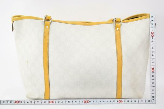 Gucci Satchel/Tote Mint Condition Classic Gg Tote in brown large G logo print on white coated canvas and yellow leather Image 1