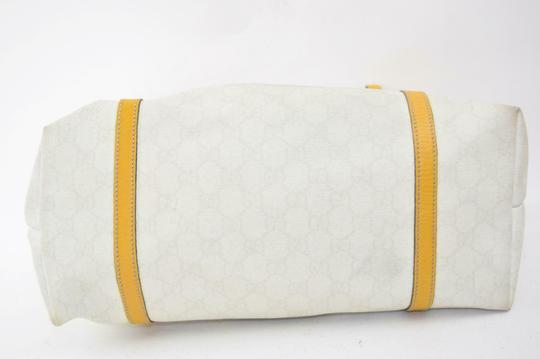 Gucci Satchel/Tote Mint Condition Classic Gg Tote in brown large G logo print on white coated canvas and yellow leather Image 5