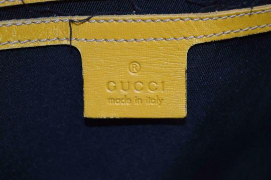Gucci Satchel/Tote Mint Condition Classic Gg Tote in brown large G logo print on white coated canvas and yellow leather Image 7