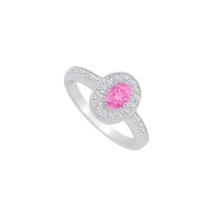 Marco B Pink Sapphire and CZ Halo Ring in 14K White Gold