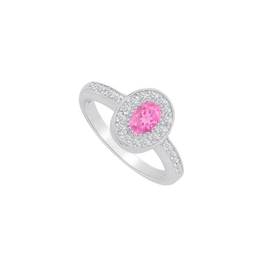 Marco B Pink Sapphire and CZ Halo Ring in 14K White Gold Image 0