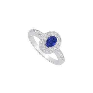 Marco B Best Gift Sapphire CZ Halo Ring in 14K White Gold