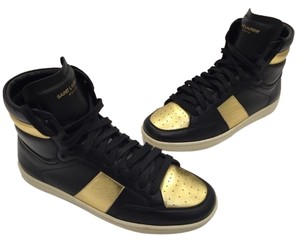 40956386069 Saint Laurent Sl-10h Court Classic Leather Sneaker Ysl High Tops Black and  Gold Athletic