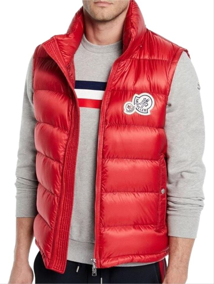 66d872d27 Moncler Red Men's Gilet Double Logo Hooded Vest Size OS (one size) 21% off  retail